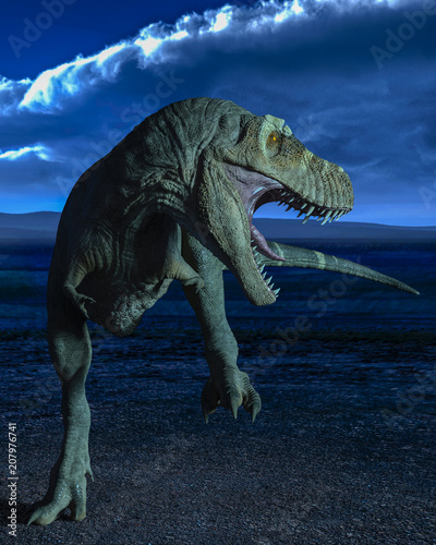 Obraz na plátně  t-rex in the wild world storm
