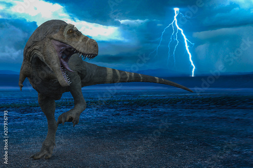 Fotografie, Obraz  t-rex in the wild world storm