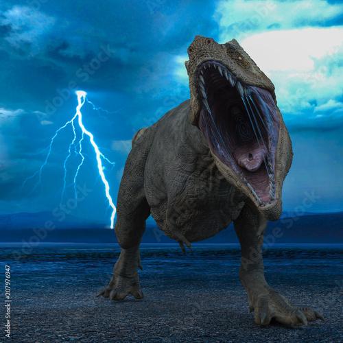Valokuva t-rex in the wild world storm