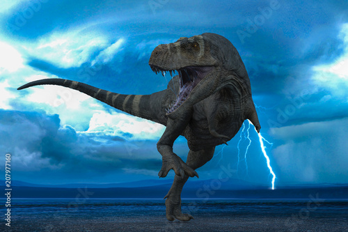 Fotografía t-rex in the wild world storm