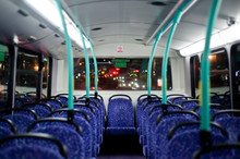Rows Of Empty Blue Seats On A London Double Decker Bus At Night