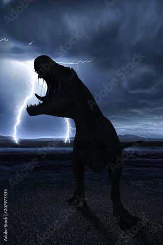 Photo  t-rex in the wild world storm