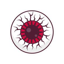 Red Eye Zombie Monster Minimal Icon Design Vector Illustration