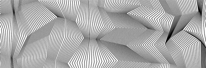 Wavy background of lines. Monochrome dynamic surface with effect of optical i...