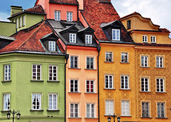 Fototapeta Architektura Colorful facades of traditional houses, Warsaw old town