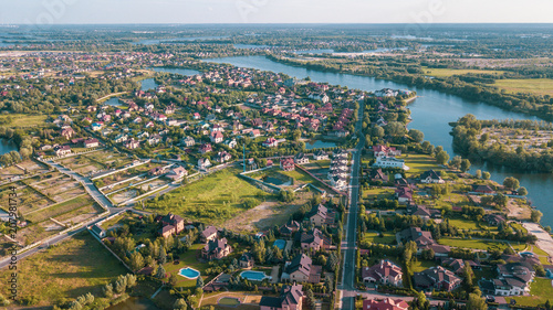 Tuinposter Luchtfoto Stock aerial image of a residential neighborhood