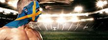 Soccer Or Football Fan On Stadium With Bodyart On Face - Flag Of Sverige.