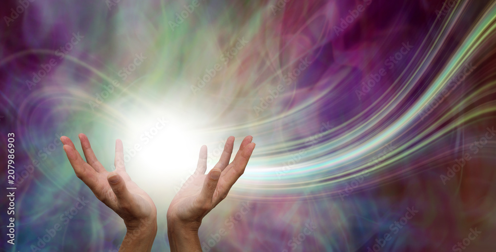 Fototapety, obrazy: Stunning Healing Energy phenomenon  - female hands reaching up into a ball of white  energy with a laser trail and pink green ethereal energy field  background