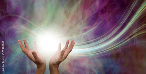 Canvas Print Stunning Healing Energy phenomenon  - female hands reaching up into a ball of wh