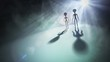 Silhouettes of aliens and bright light in background. 3D rendered illustration.