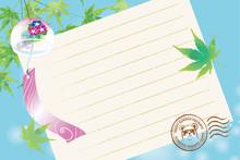 暑中見舞葉書デザイン(横)|楓と風鈴と便箋の背景イラスト|夏のイメージ