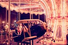 Children's Carousel Plane In The Children's Park