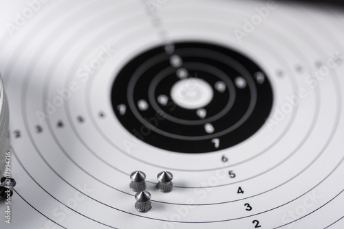 Fotomural shots, shields and cartridges - shooting position on the sport shooting range