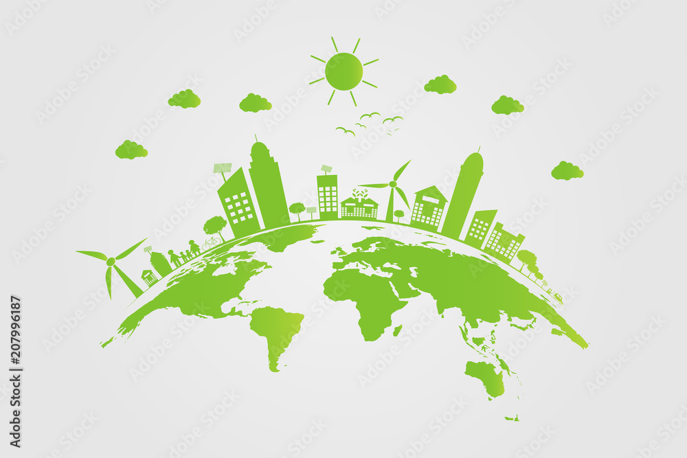 Fototapeta Ecology.Green cities help the world with eco-friendly concept ideas.vector illustration