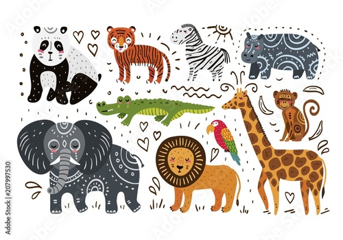 Photo Jungle animals hand draw