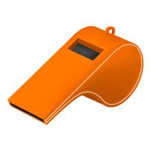 Orange Whistle Mockup. Realistic Illustration Of Orange Whistle Vector Mockup For Web Design Isolated On White Background