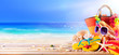 Leinwandbild Motiv Beach Accessories And Shells On Deck In Sunny Seashore - Summer Holidays