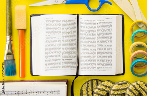 Fotografia, Obraz  Background of a Bible with Objects for Biblical Education such as VBS