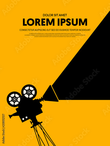 Movie and film modern retro vintage poster template background