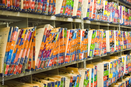 Fotografie, Obraz  Rows of Colorful Medical Records - Patient Charts