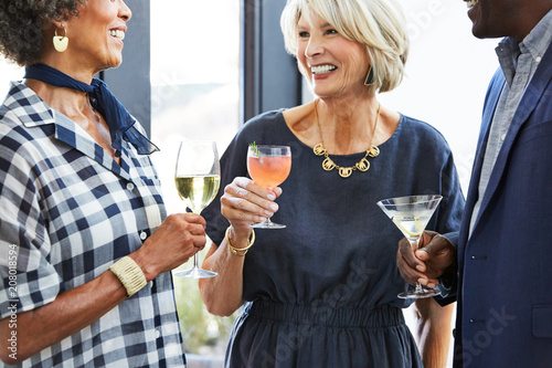 Senior friends enjoying drinks at a cocktail party