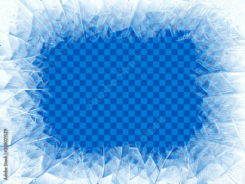 Photo  Vector transparent blue frost window