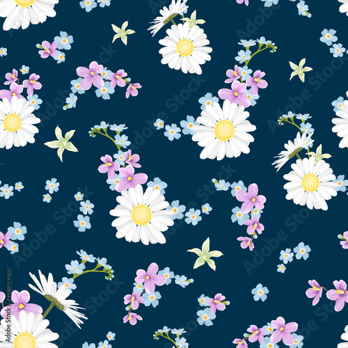 Field meadow countryside flowers collection. Daisy chamomile, forget-me-not myosotis, viola. Blue purple violet yellow green on navy blue ... See More