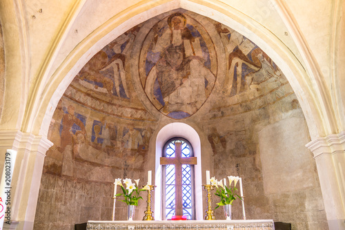 The altar and apse with christ pantocrator Canvas Print