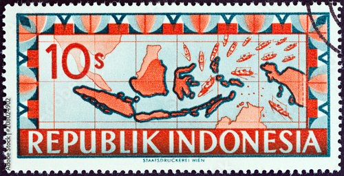 Tela  Map of Indonesia with ships representing blockade runners streaming toward the R