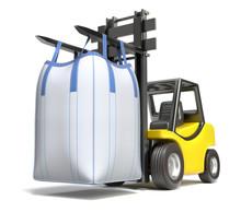 Big Bulk Bag On Yellow Forklift