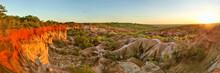 High Resolution Wide Panorama Of Marafa (Hell's Kitchen) Canyon In Sunset Light. Malindi, Kenya