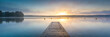canvas print picture - Sonnenaufgang am See mit Nebel - Panorama