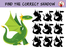 Funny Green Dragon. Find The Correct Shadow. Educational Matching Game For Children. Cartoon Vector Illustration