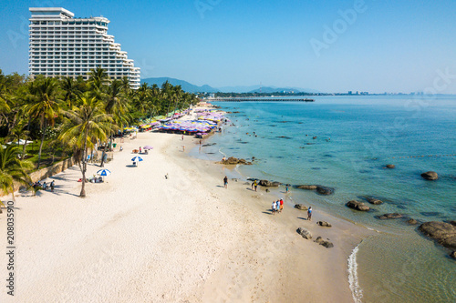 THAILAND, HUA HIN - APRIL 23, 2018: Ariel view Hua Hin beach in Thailand Wallpaper Mural