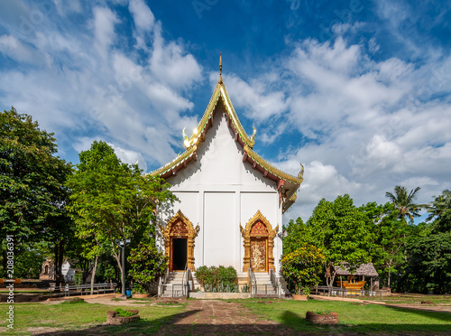 Staande foto Bedehuis Pagoda at Wat Ched Yod temple the most famous landmark of Chiang Mai Province, Thailand.