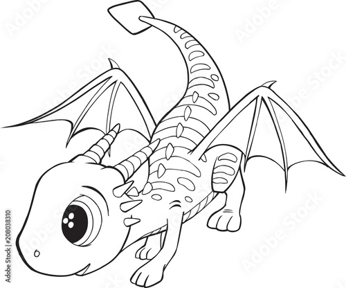 Spoed Fotobehang Cartoon draw Cute Dragon Vector Illustration Art