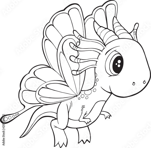 In de dag Cartoon draw Cute Butterfly Dragon Vector Illustration Art
