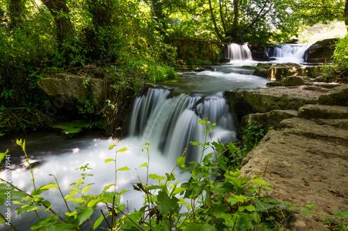 Montage in der Fensternische Wasserfalle Waterfalls of Monte Gelato in the Valle del Treja near Mazzano Romano, Lazio, Italy