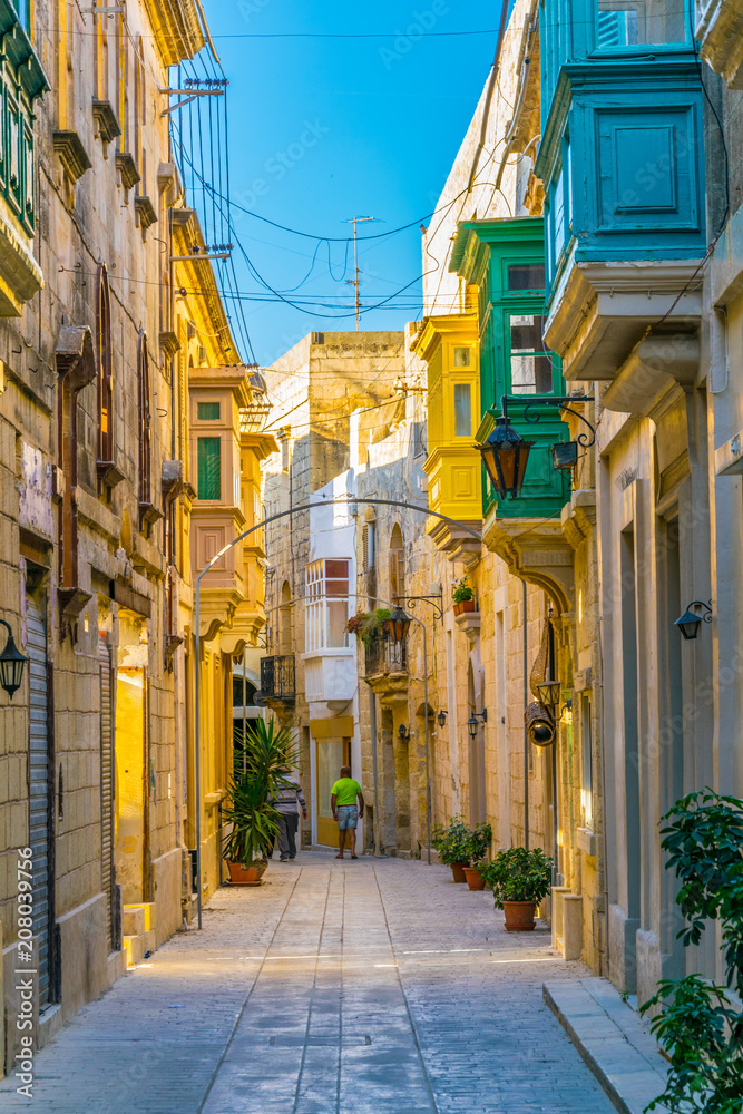 View of a narrow street in the old town of Mdina, Malta