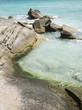 Blue water in rocks