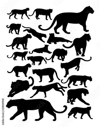 Obraz premium Sylwetka pantery. Dobre wykorzystanie symbolu, logo, ikony internetowej, maskotki, znaku lub dowolnego projektu, który chcesz.