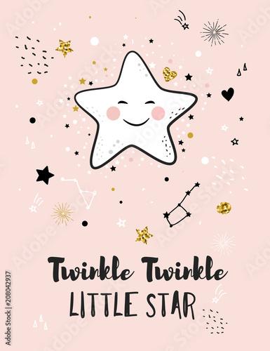 Mała gwiazdka, kartka z życzeniami na chrzciny, plakat do pokoju dziecięcego, koszulka i odzież dziecięca i niemowlęca