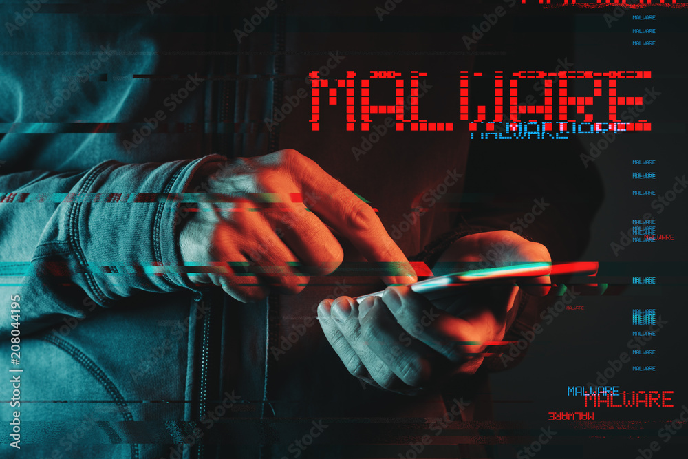 Fototapeta Malware concept with person using smartphone
