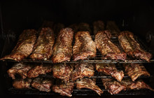 BBQ Ribs In Commercial Smoker