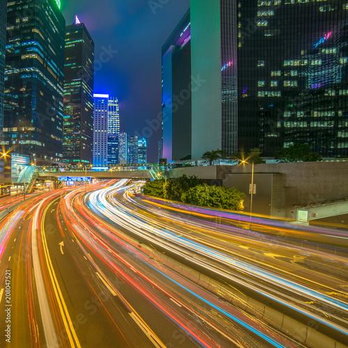 Tuinposter Aziatische Plekken Modern city at night, Hong Kong, China