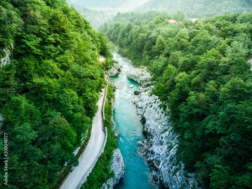 Foto auf AluDibond Olivgrun Aerial view over Soca river in Triglav Park, Slovenia