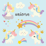 set of cute unicorn vector.