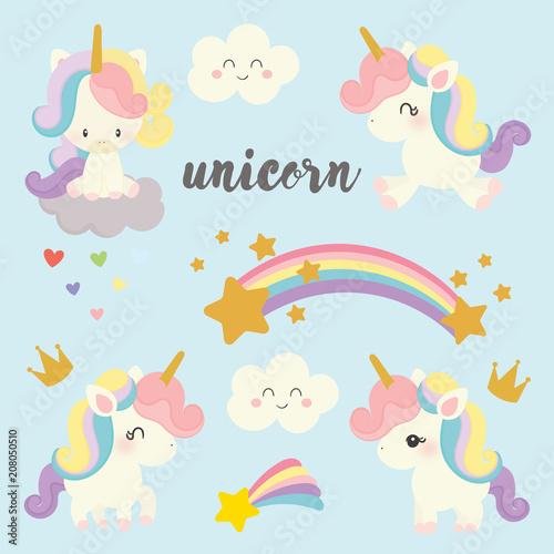 set of cute unicorn vector. Fototapeta