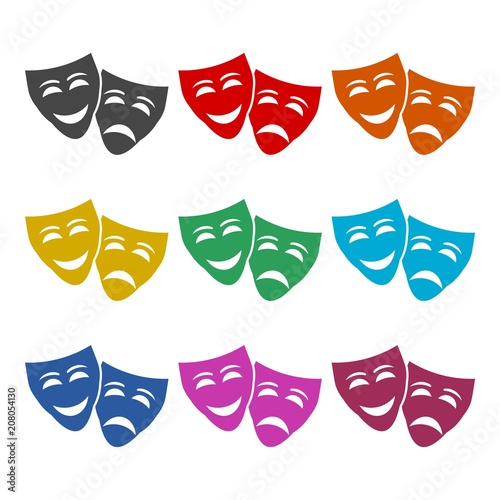 Fototapeta Theater mask line icon, color icons set