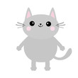 Gray cat face silhouette. Cute cartoon kitty character. Kawaii animal. Funny baby kitten with eyes, mustaches, hands paw print. Love Greeting card. Flat design. White background Isolated.